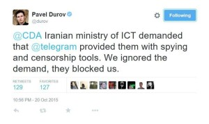 Durov Tweet On Iran and Telegram (Source: Twitter)