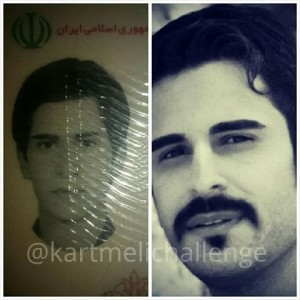 L: ID Photo of Iranian Man according to government restrictions. R: personal photo of same man rejecting government restrictions (Photo Credit: #Kartemelichallenge)