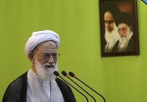 "Iranian senior cleric Ayatollah Mohammad Emami Kashani delivers his sermon during Friday prayers at the Tehran university campus, in Tehran, Iran, Friday, Sept. 25, 2015. Thousands of Iranian worshippers have marched in Tehran after Friday prayers to denounce the ""incompetency"" of Saudi Arabia in handling the annual hajj pilgrimage. The protest came a day after at least 719 pilgrims died during a crush on the outskirts of the holy city of Mecca. (AP Photo/Vahid Salemi)"