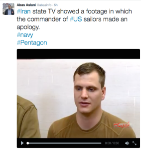 Tweet by Abas Aslani of Tasnim News about US Sailor Apologizing (Photo: Twitter)