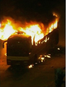 Bus Engulfed in Flames from Molotovs after Al Nimr's execution, Qatif, January 2, 2016 (Photo Credit- Middle East Eye)
