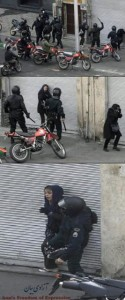 Basij attack Iranian Woman during protest (Photo Credit- France24)