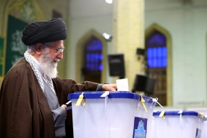 Promo photo of Ayatollah Khamenei voting (Photo Credit- EPA)