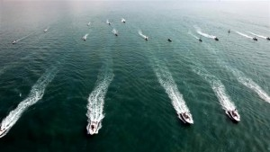 Iranian speedboats cruise at a ceremony marking the delivery of tens of such vessels to Islamic Revolution Guards Corps Navy, March 11, 2016. (IRNA Photo)