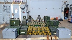 Some of the Konkurs and TOW missiles, as well as TOW launchers found on a dhow that was stopped in the Arabian Sea. (Photo Credit- Combined Maritime Forces)