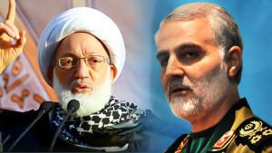 L: Ayatollsah Isa Qassim and IRGC Quds Force Chief Commander Major General Qassim Soleimani (Photo Credit: Tasnim News Agency)