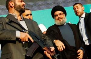 Nasrallah with Bodyguards (Photo Credit- Reuters:Sharif Karim)